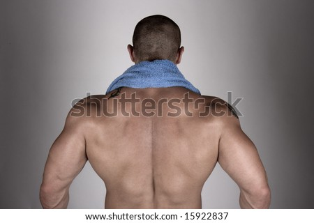 Back view of a  builder body - stock photo