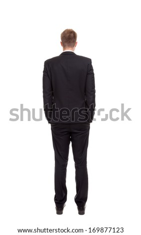 Back view of a businessman isolated on white - stock photo
