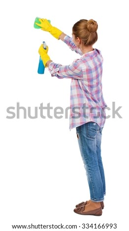 Back view of a housewife in gloves with sponge and detergent. girl  watching. Rear view people collection.  backside view of person.  Isolated over white background. - stock photo