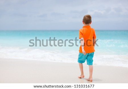 Back view of a little boy at tropical beach - stock photo