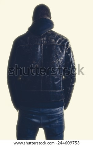 Back view of a man in jacket. Isolated on white background. - stock photo