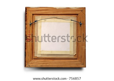 back view of a picture frame. Clipping path included. - stock photo