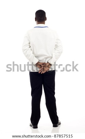 Back view of an African American doctor isolated over white background - stock photo