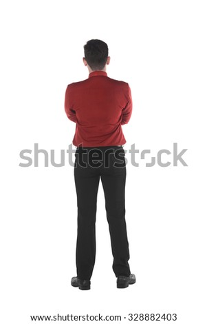 Back view of asian business man isolated over white background - stock photo