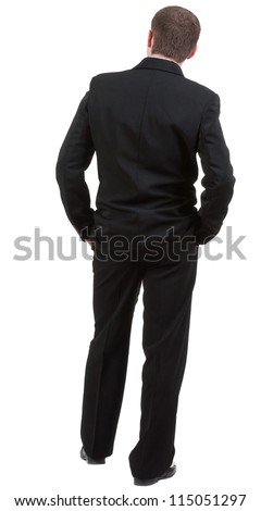 back view of Business man  looks ahead. Young guy in black suit watching.Rear view people collection.  backside view of person.  Isolated over white background - stock photo