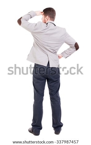 back view of Business man  looks.  Rear view people collection.  backside view of person.  Isolated over white background. A guy in a jacket looking away from doing hands visor. - stock photo