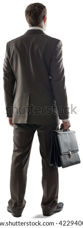 Back view of business man standing and holding briefcase isolated on white background - stock photo