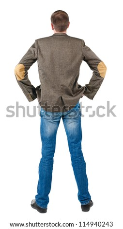 Back view of business men in jacket suit . Guy looks at wall. Rear view. Isolated over white background - stock photo