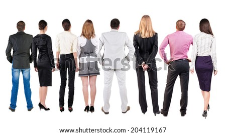 Back view of  business team looks at wall. Teamwork business people looking at something. Rear view people collection.  backside view of person.  Isolated over white background - stock photo