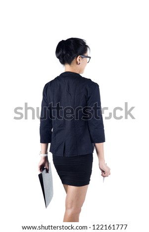 Back view of business woman holding folder and pen, isolated white background. Model is Asian woman. - stock photo