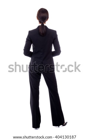 back view of business woman in black suit isolated on white background - stock photo