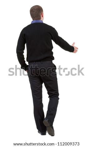 back view of Businessman  in black suit  handshake. Rear view people collection.  backside view of person. Isolated over white background. - stock photo