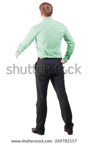 back view of businessman in red shirt out to shake hands. Rear view people collection. backside view of person. Isolated over white background. cocky office worker greets someone - stock photo