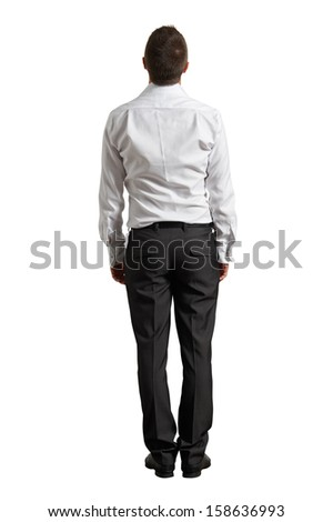 back view of businessman looking up. isolated on white background - stock photo
