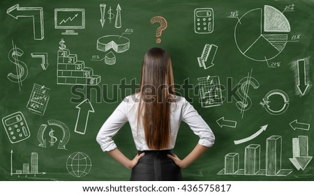 Back view of businesswoman with question mark over her head on green background with finance graphs. Confusion. Predicament. Financial and business concept. Economic and statistical graphs. - stock photo