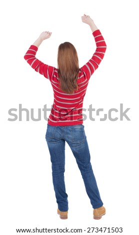 back view of dancing young beautiful  woman. girl  watching. Rear view people collection.  backside view of person.  Isolated over white background. - stock photo