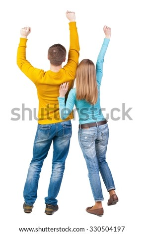 Back view of dancing young couple(men and women). Dance party. girls and guys teens dance, enjoy and express positive emotions and having fun. backside view of person. Isolated over white background.  - stock photo