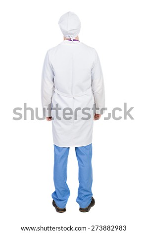 Back view of doctor in robe. Standing young guy. Rear view people collection.  backside view of person.  Isolated over white background. The nurse in a dressing gown standing and looking up. - stock photo