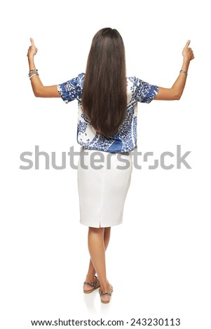 Back view of full length business woman giving double thumb up, isolated on white - stock photo