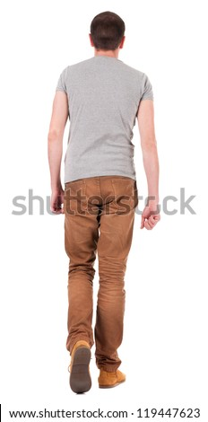 Back view of going  handsome man in jeans and shirt.  walking young guy in jeans and  jacket. Rear view people collection.  backside view of person.  Isolated over white background. - stock photo