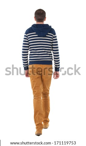 Back view of going  handsome man in jeans and striped sweater.  walking young guy . Rear view people collection.  backside view of person.  Isolated over white background. - stock photo