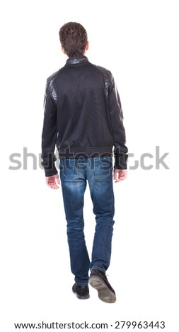 Back view of going  handsome man. walking young guy . Rear view people collection.  backside view of person.  Isolated over white background. Lowering his hands guy goes the distance. - stock photo