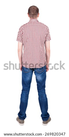 Back view of handsome man in shirt  looking up.   Standing young guy in jeans. Rear view people collection.  backside view of person.  Isolated over white background. - stock photo