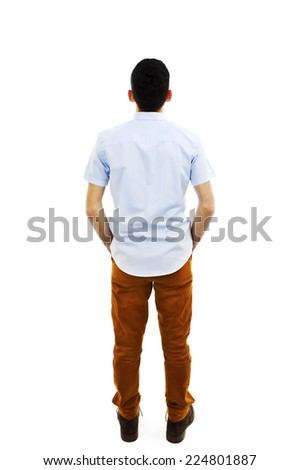 Back view of handsome with both hands in his pockets looking up. Standing young guy. Rear view people collection. backside view of person. Isolated over white background - stock photo