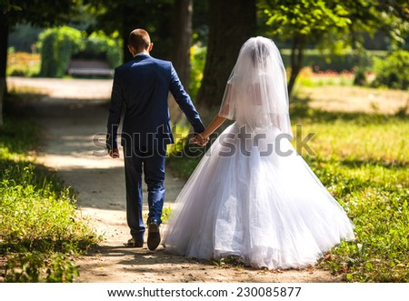 Back view of holding hands couple in love, bride and groom outdoor walking on field. - stock photo