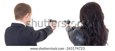 back view of man and woman shooting with guns isolated on white background - stock photo