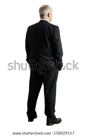 back view of mature businessman. isolated on white background - stock photo