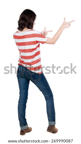 Back view of  pointing woman. beautiful brunette  girl. Rear view people collection.  backside view of person.  Isolated over white background. - stock photo