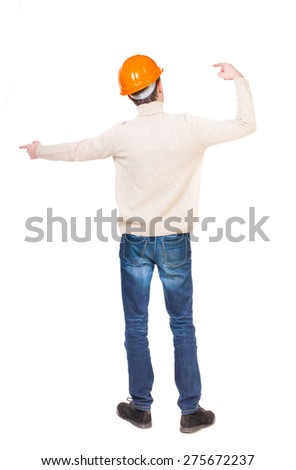 Back view of  pointing young men in helmet. Young guy  gesture. Rear view people collection.  backside view of person.  Isolated over white background. Foreman hands gives commands directions. - stock photo