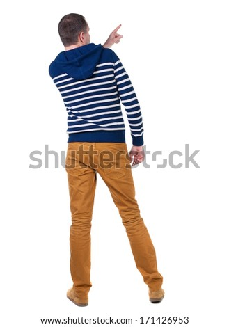 Back view of  pointing young men in  hooded sweater. Young guy  gesture. Rear view people collection.  backside view of person.  Isolated over white background.  - stock photo