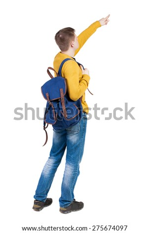 Back view of  pointing young men with backpack.  Young guy gesture. Rear view people collection.  backside view of person.  Isolated over white background. A tourist looks at something at the top - stock photo