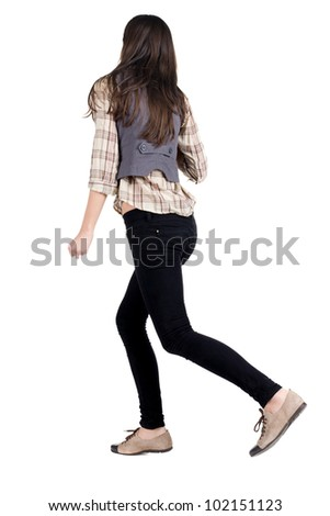 back view of running brunette girl. girl walking on the motion move. Rear view people collection.  backside view of person. Isolated over white background. - stock photo