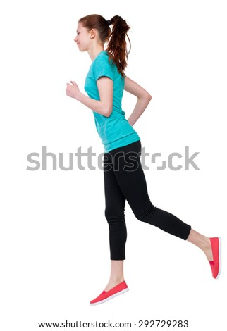 back view of running sport woman. beautiful girl in motion. backside view of person.  Rear view people  collection. Isolated over white background. Sport girl in black tights running jogging. - stock photo
