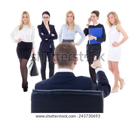 back view of sitting business man choosing new secretary or assistant isolated on white background - stock photo