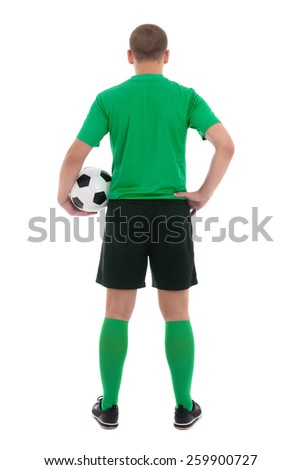 back view of soccer player in green uniform isolated on white background - stock photo