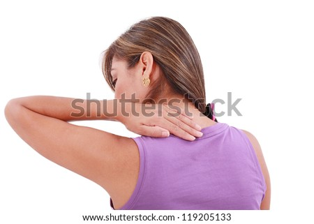 Back view of sport woman with pain in her neck. Isolated - stock photo