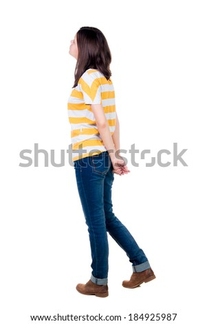 back view of standing young beautiful  brunette woman. girl  watching. Rear view people collection.  backside view of person.  Isolated over white background. - stock photo
