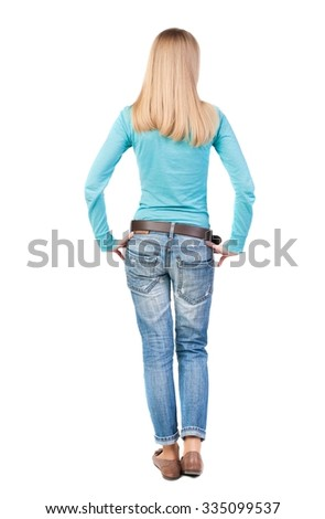 back view of standing young beautiful  woman in jeans. girl  watching. Rear view people collection.  backside view of person.  Isolated over white background. - stock photo