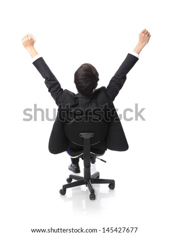Back view of Successful excited Business man sitting in chair, young businesspeople smile raised hands arms, Isolated over white background, asian people - stock photo