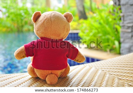 Back view of teddy bear wearing red T-Shirt sitting near swimming pool. Concept about loneliness or waiting for someone. - stock photo