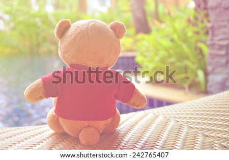 Back view of teddy bear wearing red T-Shirt sitting near swimming pool. Concept about loneliness or waiting for someone. (Soft Style for Background) - stock photo