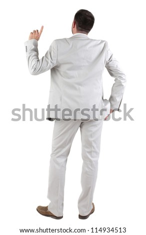 Back view of  thinking young business man in  white suit. Rear view. isolated over white background. Concept of idea, ask question, think up, choose, decide. - stock photo