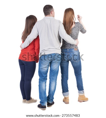 Back view of three friends  (woman and man). A guy in a gray jacket hugging two friends.  backside view of person.  Isolated over white background. - stock photo