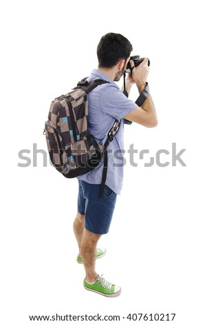 Back view of tourist photographer man taking picture. Isolated on white background - stock photo