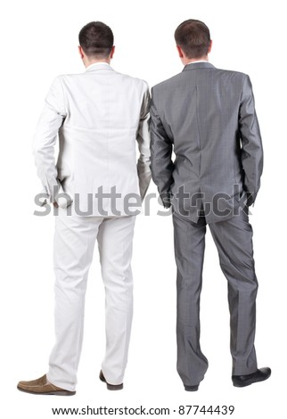 Back view of Two business men.  Rear view. Isolated over white background. - stock photo