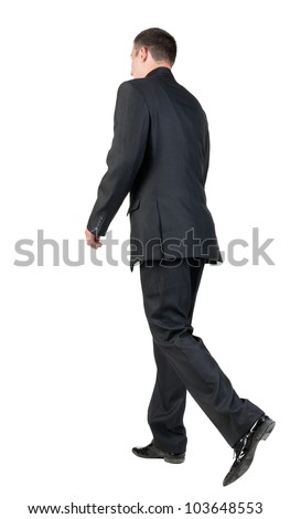 back view of walking  business man.  going young guy in black suit. Isolated over white background. Rear view people collection.  backside view of person. - stock photo